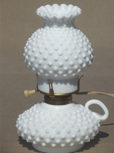 Vintage Hobnail Milk Glass Lamps Finger Ring Candlestick