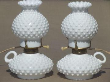 vintage hobnail milk glass lamps, finger ring candlestick lamps w/ shades