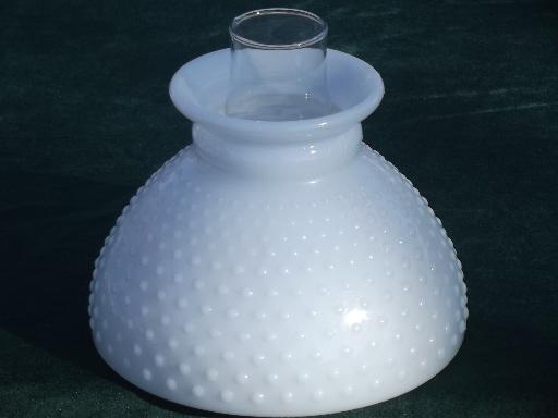 Vintage hobnail milk glass lampshade w glass chimney for student lamp aloadofball Image collections