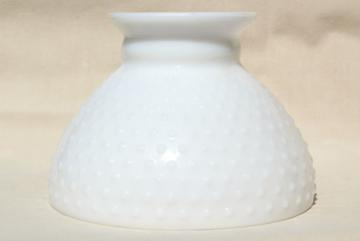 vintage hobnail milk glass lampshade, student lamp or hanging light shade