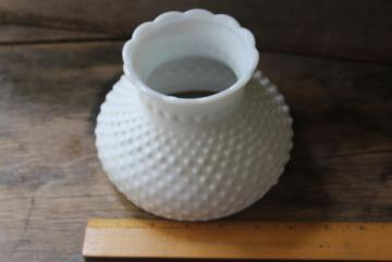 vintage hobnail milk glass replacement shade for small student lamp, opaque white glass