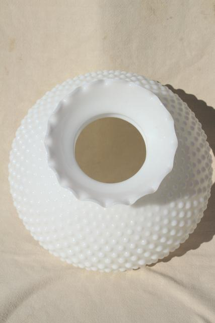 vintage hobnail milk glass shade for table lamp or farmhouse hanging light