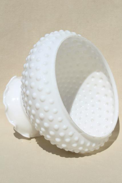 vintage hobnail milk glass shade, lampshade for student lamp or hanging light