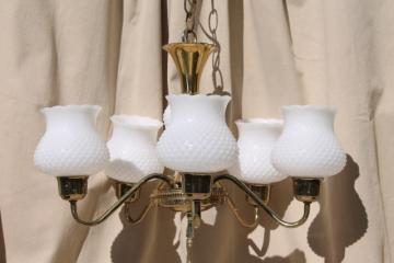 vintage hobnail milk glass shades chandelier, shabby cottage chic farmhouse hanging light