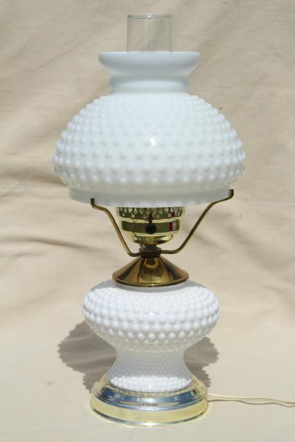 Vintage Hobnail Milk Glass Student Lamp W/ Light Up Base, Fenton Table Lamp