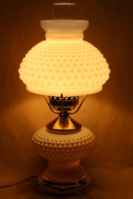 Vintage Hobnail Milk Gl Student Lamp