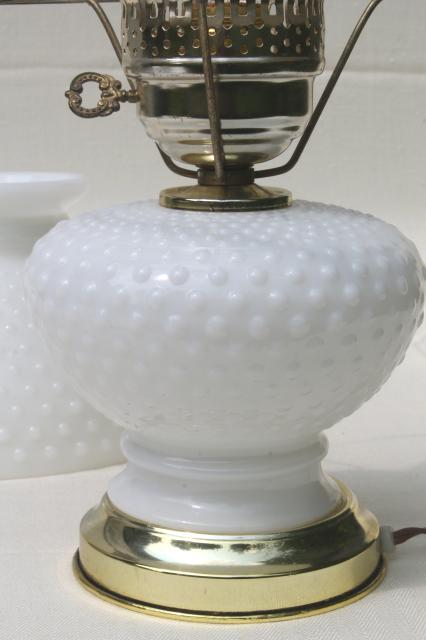 Vintage Hobnail Milk Glass Student Lamp Table Lamp W Milk Glass Lamp Shade