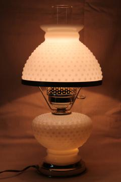 vintage hobnail milk glass student lamp, table lamp w/ milk glass lamp shade