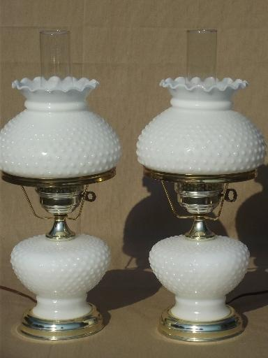 Vintage Hobnail Milk Glass Student Lamps W Chimney Lamp