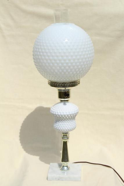 Vintage Hobnail Milk Glass Table Lamp, Gone With The Wind Round Globe Shade