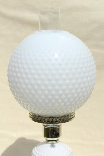 Vintage Hobnail Milk Glass Table Lamp Gone With The Wind