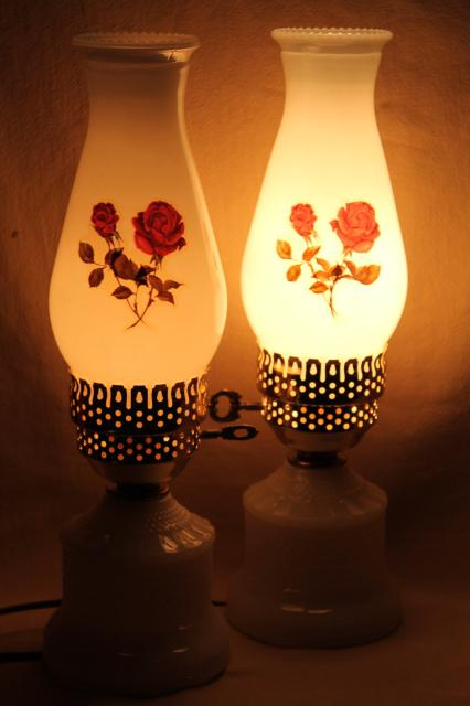 vintage hobnail milk glass vanity table lamps w/ pink roses, boudoir lamp pair