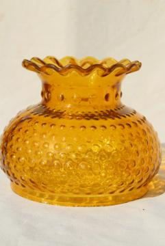 vintage hobnail pattern glass shade for student lamp, amber yellow gold color