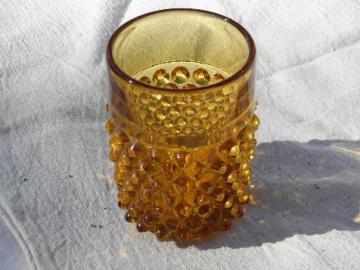 vintage hobnail pattern glass tumbler, heavy old amber glass