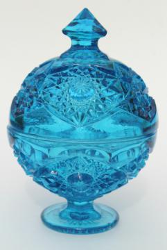 vintage hobstar & fan pattern pressed glass candy dish, beautiful blue glass
