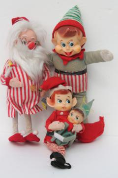 vintage holiday Christmas elf, knee hugger pixies, Dream doll Santa in nightshirt