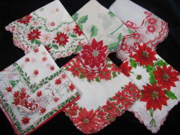 vintage holiday handkerchief lot, print cotton hankies for Christmas