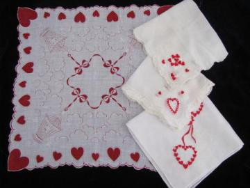 vintage holiday handkerchiefs lot, fancy hankies for Valentine's Day