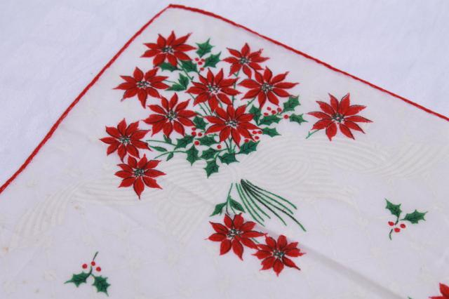 vintage holiday hankies, Christmas tree & poinsettia flowers print cotton handkerchiefs