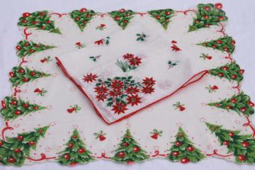 vintage holiday hankies, Christmas tree & poinsettia flowers print cotton handkerchiefs