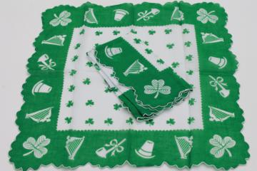 vintage holiday hankies, St Patrick's Day green shamrock print handkerchiefs