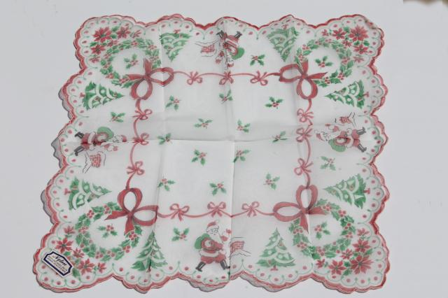 vintage holiday hankies, collection of Christmas handkerchiefs