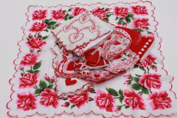 vintage holiday hankies, collection of Valentine's Day valentine hearts handkerchiefs