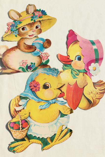 vintage holiday paper die cut decorations, Easter bunny & chicks in hats!