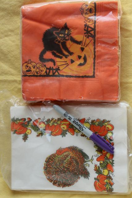 vintage holiday party paper napkins, Halloween & Thanksgiving retro art graphics