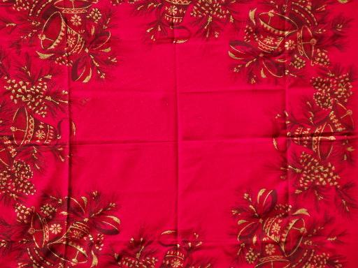 Vintage Holiday Tablecloth, Red Linen Tablecloth W/ Gold Christmas Bells