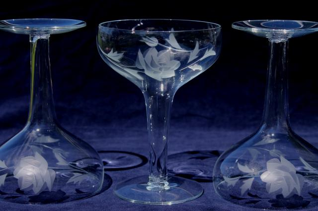 Vintage Hollow Stem Champagne Glasses Coupe Champagnes W