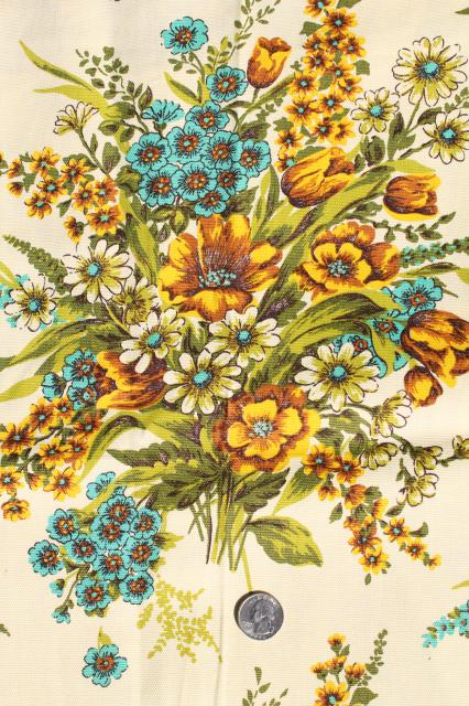 Vintage Home Decor Fabric Floral Bouquets In Golden Yellow Shades W