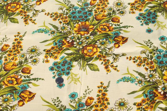 Vintage Home Decor Fabric Floral Bouquets In Golden Yellow Shades W Aqua