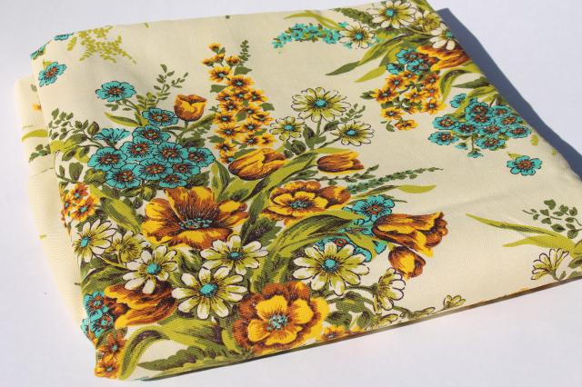 vintage home decor fabric, floral bouquets in golden yellow shades w ...