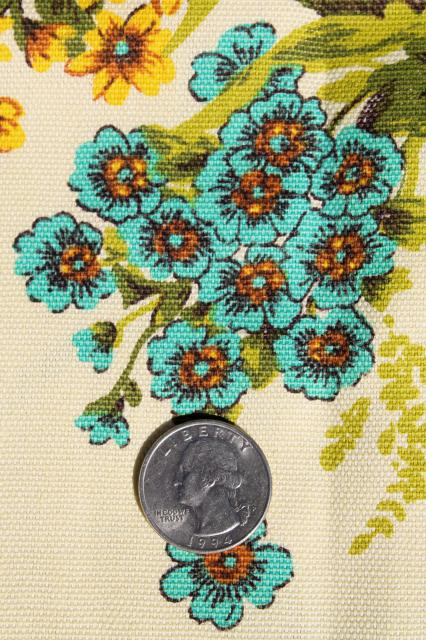 home decor fabric, floral bouquets in golden yellow shades w/ aqua
