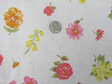 vintage homespun linen weave textured cotton fabric, sunny floral print