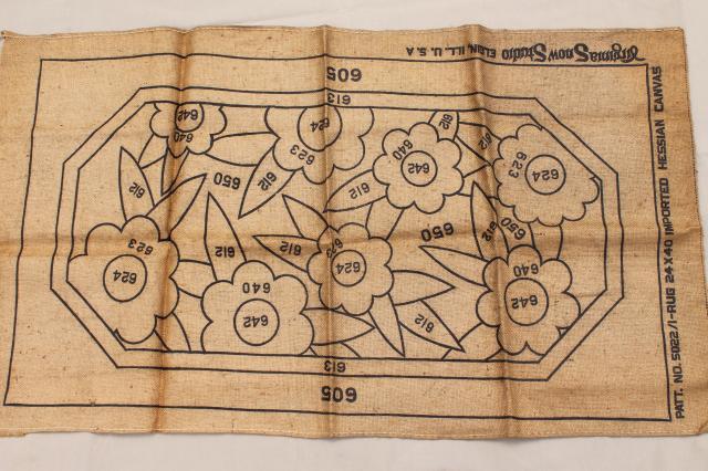 Vintage Hooked Rug Canvas Lot Printed Pattern Burlap