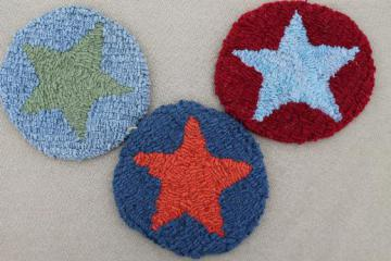 vintage hooked wool rag rug mini wall hangings, primitive stars in red & blue