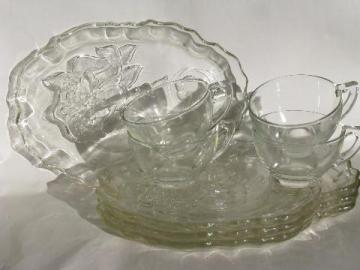 vintage horn of plenty cornucopia vegetable pattern glass snack sets