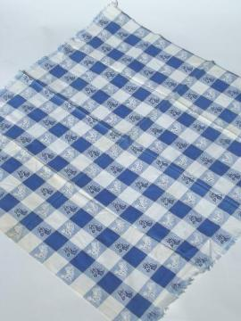 Vintage Horses Print Fabric Tablecloth, Blue U0026 White Checked Cotton