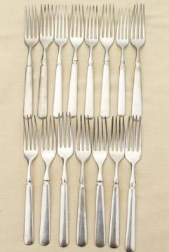 vintage hotel silver dinner forks, antique silver plate flatware mismatched pieces
