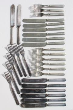 vintage hotel silver forks & knives, antique silver plate flatware mismatched pieces