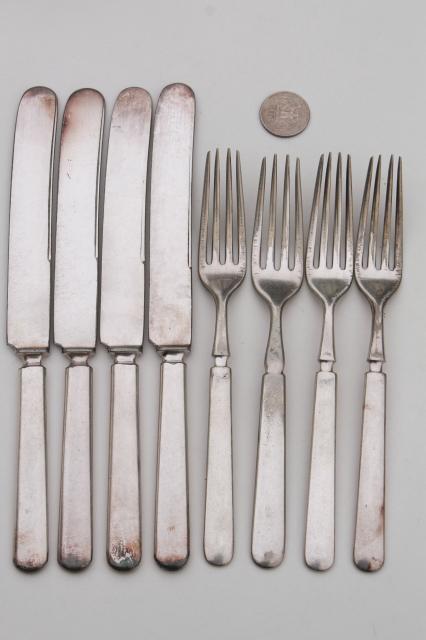 vintage hotel silver forks \u0026 knives antique silver plate flatware mismatched set & vintage hotel silver forks \u0026 knives antique silver plate flatware ...