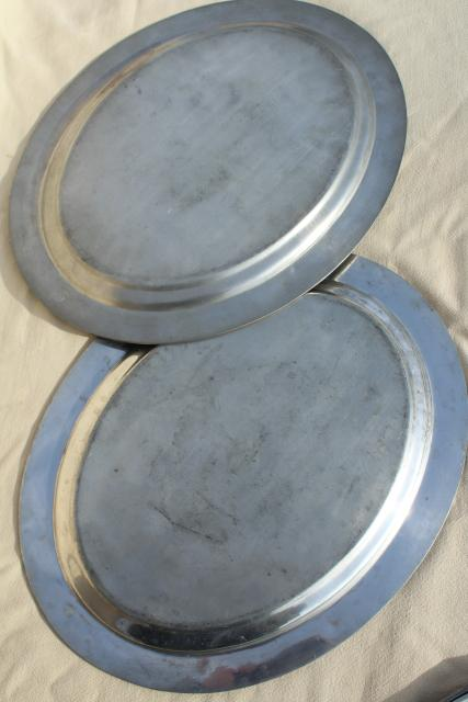 vintage hotel ware platters, large & small pewter trays Rockford Silver early 1900s
