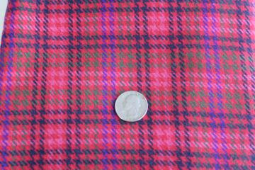 vintage houndstooth plaid wool fabric, rose pink, red, purple, black, pine green