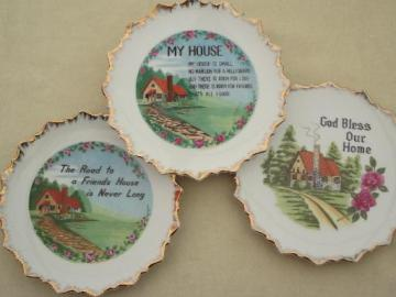 vintage house blessing plate, cottage home wall art motto china plates