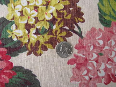 vintage hydrangea floral print cotton decorator fabric, 1940s or 50s