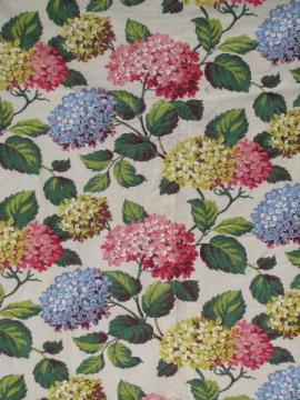 vintage hydrangea floral print cotton decorator fabric, 1940s or 50s