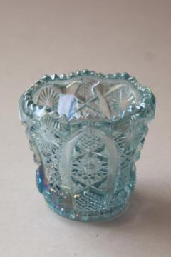 vintage ice blue carnival glass iridescent luster Quintec star vase or candle holder?