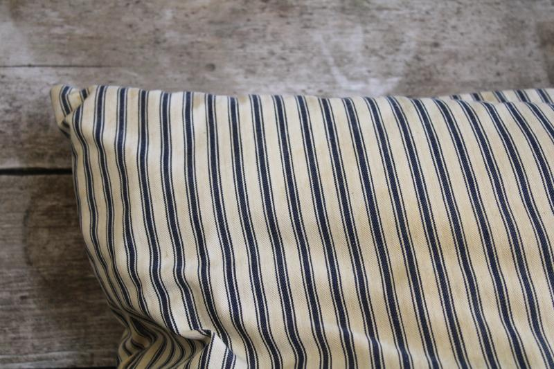 vintage indigo blue striped cotton ticking pillow, chicken feather pillow